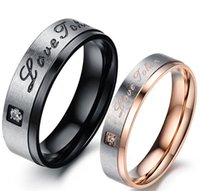 Cheap Retro Black Rose Gold Stainless Steel Rings For Men Women Jewelry Natural Stone Engagement Rings His Her Wedding Bands