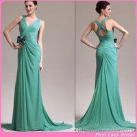 Cheap High Quality Lime Green Bridesmaid Dresses Chiffon V-neck Sheath Long Wedding Party Gowns Country 2015 Custom Made
