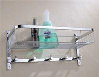 basket bracket - Chrome Stainless Steel Shelf with Hook Bracket Shelves Golden basket bathroom shower storage Bathroom Accessories