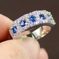 Cheap Lady's Blue Round Sapphire Gemstone CZ 925 Silver Filled Wedding Ring Jenny G Jewelry for Women Nice Gift