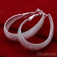 Wholesale Women s Fashon Korean Style Enclosure Earrings Silver Plated Jewelry Earring Hoop Earrings E