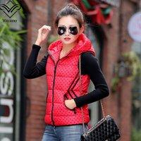 Cheap Wholesale-2015 autumn winter women coat women down vest cutedown polka dot L-XXL plus size women vest colete femininochaleco vaquero mujer