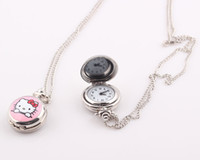 Wholesale Silver mirror cartoon cat hello kitty pocket watches chain pendant necklace jewelry hour clock watch JJAL ZW27