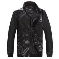 Wholesale 2014New Fashion Men s Locomotive Leather PU Jacket Coat Outerwear Slim Winter Jacket M XXXL men s Outwear Winter coat Outwear Trench Coat