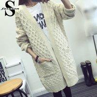 beige wool jacket womens - Fashion Womens Stitch Open Cardigan Sweater Long Sleeve Pocket Long Knitted Coat Jacket Grey Beige Long Loose Knitwear MTE1013