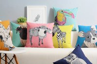bamboo pillow cases - Ikea Linen Pillow Case Colorful Zoo French Bulldog Dachshund Owl Cow Giraffe Zebra Cushion Cover Home Decorative x45cm