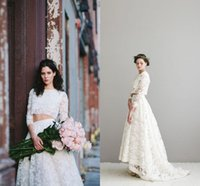 Wholesale Elegant Lace Bohemian Wedding Dresses A Line Two Pieces Hi Lo Long Illusion Sleeves Boho Garden Wedding Dresses Pom Party Dresses BO8911