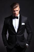 Wholesale 2015 Best Selling Black Mens Wedding Suits Custom Made Slim Fit Wedding Groom Tuxedos For Men Groom Suits Bridegroom Jacket Pants Tie