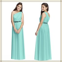 Cheap Teens Bridesmaid Dresses Mint Vestidos Sweet One Shoulder Floor Length Bridal Party Dresses Ruched Bodice Graduation Gowns Custom Made 2015