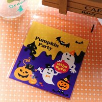 Wholesale 100pcs Hollween Gift Bags Lovely Pumkin Plastic Cookies Packaging Bag Halloween Decoration Candy Bags S30232