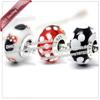 Wholesale NEW S925 Sterling Silver Black and white Mickey charm Murano Glass Beads Fit European Jewel pandora Charm Bracelets Pendant ZS306