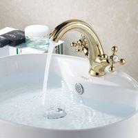 Wholesale Gold copper basin counter basin hot and cold double faucet unique lines