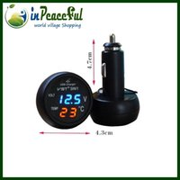 auto meter - V V Digital Auto Car Thermometer Car Battery Voltmeter Voltage Meter car mounted USB charger