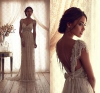 beaded lace short wedding dress - 2016 Vintage Beach Wedding Dresses Deep V Neck Cap Sleeves Anna Campbell Lace Wedding Gowns Sexy Beaded Boho Wedding Dress