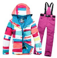 Wholesale New Style Gsou snow Womens snowboard clothes Skiing suit sets sets Jackets pants windproof waterproof winter dress