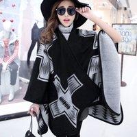 Wholesale 2015 Fashion Women Scarf thick Cape Shawl Scarf Women Toggle Cape Coat Poncho Bohemian Shawl High quality