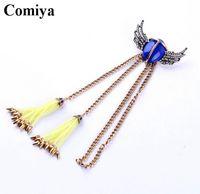 aqua blue colour - Vintage blue stone boho brooches for women yellow colour tassel pendant brooch zinc alloy chains fashion jewelry promotion