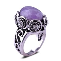 antique wedding rings for sale - rings for women Amethyst antique silver ring hot sale retro fashion alloy rings jewelry explosion gemstone rings wedding ring