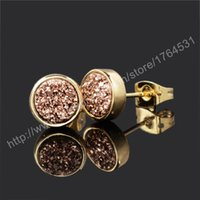 Wholesale mm K Gold Plated Round Rose Golden Natural Agate Titanium Druzy StudEarrings Fashion Drusy Geode Earring