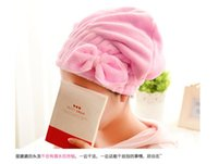 Wholesale Multicolor Women Cute Bowknot Soft Coral Fleece Ultra Absorbent Shower Cap Hat Bathing Cap Elastic Band Spa Hair Drying Dry Towel Wrap Ha
