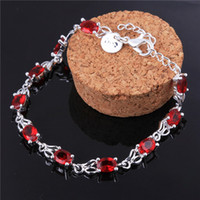 Wholesale High Quality Silver Red Zircon Charm Bracelet Chain Fashion Jewelry Engagement Gift for Woman
