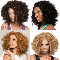 afro lace wigs - 2016 African American Wigs Synthetic Fiber Lace Front Short Afro kinky Curly Hair Wigs for Black Women Fashion Styles Brazilian Hair Weave
