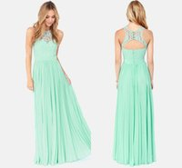 Cheap Cheap Chiffon Lace Long Mint Bridesmaid Dress Under 50$ Party Dress 2015 Prom Dress Backless Vestidos wedding party dresses