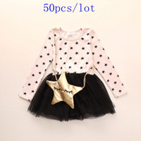 baby star designer clothing - 50pcs Hot sale baby girls dresses autumn cotton clothes girl dress kids fashion cute designer brand girls wear printing stars tulle