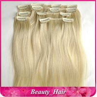 Wholesale 10sets quot quot Remy Human Hair Clip in Hair Extentions lightest Blonde g