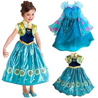 Cheap 2015 Frozen Fever Queen Elsa Anna Princess Birthday Party Dresses Costumes Kids Children girl gift Dress Clothing for Halloween Saint Day