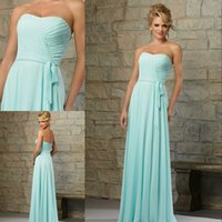 Wholesale Custom Made Simple Bridesmaids Dresses Ruched Strapless Sleeveless Zipper Backless Floor Length Chiffon Bridesmaid Party Dresses