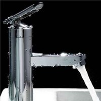 Wholesale High quality Brushed Chrome Waterfall Bathroom Basin Faucet Single Handle Sink Mixer Tap New tinyaa new freeshipping
