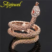 Wholesale AAA Rhinestones Animal Jewelry Rose Gold Snake Ring Crystal For Men and Women Ajojewel Brand