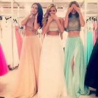 imports - 2015 Sexy Two Piece Prom Evening Dress A Line Halter Beaded Dress To Imported Party Gowns With Slit White Chiffon Sleeveless
