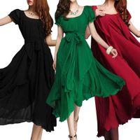 Wholesale Cheap Hot Plus Size Fashion Women Draped Chiffon Midi Dresses Scoop Puff Sleeves Retro Solid Color Long Bohemian Casual Dress FS0491