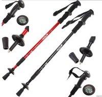 Cheap Hiking Walking Sticks With Compass Aluminum Alloy Alpenstock Anti-shock Trekking Pole Sticks 100PCS lot 1027#27