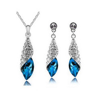 Crystal, Rhinestone asian deserts - Full Rhinestone Leaf Necklace Earrings Sets Desert light Jewelry Sets For Women Best Gift Wedding Jewelry