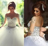 vestido de novia - Sheer Vintage Wedding Dresses White Black Girl Amazing Crystals Pearls Diamonds Bridal Gowns Long Sleeves Cool Lace up Vestido De Novia