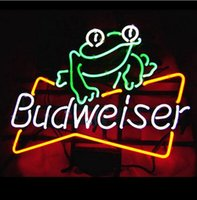 Wholesale BUDWEISER FROG HANDCRAFTED REAL NEON GLASS TUBE BEER BAR NEON LIGHT SIGN