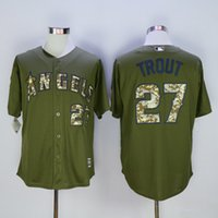 angels camo - New Baseball Jerseys Angels Trout Jersey Camo Oilve Color Cool Base Size S XXXL Mix Order All Jerseys