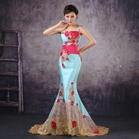 sky blue wedding dress - 2015 New Lady Sky Blue Satin Mermaid Strapless Sweep Train Flowers Evening Gown Wedding Dress Uder