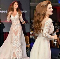 Wholesale 2015 Sexy Backless Celebrity Dresses Lace Appliques Tulle V Neck Long Sleeves Sheer with Detachable Train Mideast Star Red Carprt