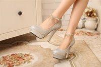Cheap Stiletto Heel Wedding Bridal Shoes 12cm Heels Imitation Rhinestone Tassels Decor Round Toe Bride Hasp High-heeled Shoes Prom Dress Pumps