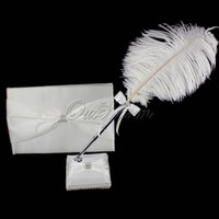 feather pen - Romantic Wedding Favor Diamante Guest Book Feather Pen Stand Kit Bridal Decoration Product Supplies XSTZ