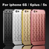 aluminium grid - For iPhone S S Plus Luxury Rose Gold Metal Aluminium Bumper Grids Hard Phone PC Back Case Cover for iPhone6 plus