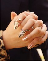 Wholesale European style personality dragonfly nail rings charming rhinestone ring finger ring false fingernails