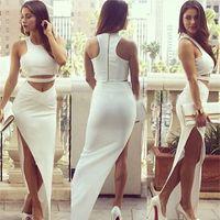celebrity bandage dress - New Women White Piece Bandage Bodycon Dress Celebrity Sexy Clubwear Split Cutout Long Dresses Sexy Club dresses vestidos