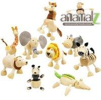 Wholesale Anamalz Maple Wood Moveable Animals Toy Wooden Animal Toys Baby Educational Toys Anamalz Toys set DDA3111