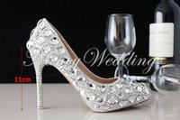 Cheap Beautiful Silver High-heeled Lady Bridal Wedding Dress Shoes Woman Crystal Shoes for Bride Evening Party Prom Shoes