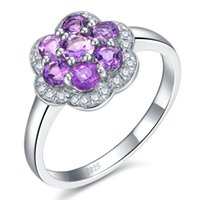 Wholesale Daisy Trendy Fine Jewelry for Women Gift CT Natural Amethyst Silver Bijou Flower Ring